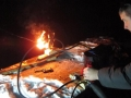 Brad tests his flaming gloves - a wearable flame effect that he's working on.